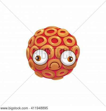 Cartoon Virus Cell Vector Icon, Funny Bacteria Or Germ Character With Unhappy Sad Face. Pathogen Mic