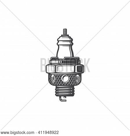 Spark Plug Of Internal Combustion Candle Isolated Monochrome Icon. Vector Plug Car-ignition System E