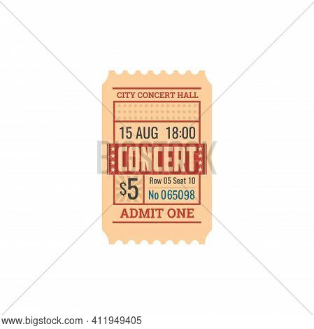 Ticket To Concert Hall, Numbered Paper Card With Price. Vector Pass To Visit Instrumental Orchestra