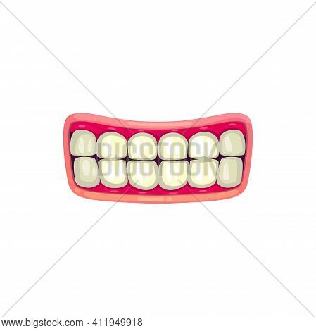 Cartoon Mouth With White Teeth, Vector Grin Or Smile Jaws With Pink Lips. Human Mouth, Dentist Or An