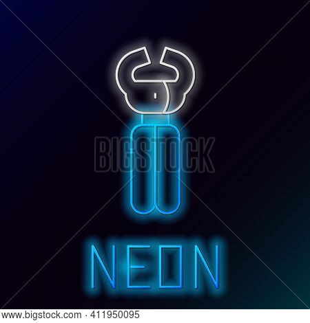 Glowing Neon Line Clippers For Grooming Pets Icon Isolated On Black Background. Pet Nail Clippers. C