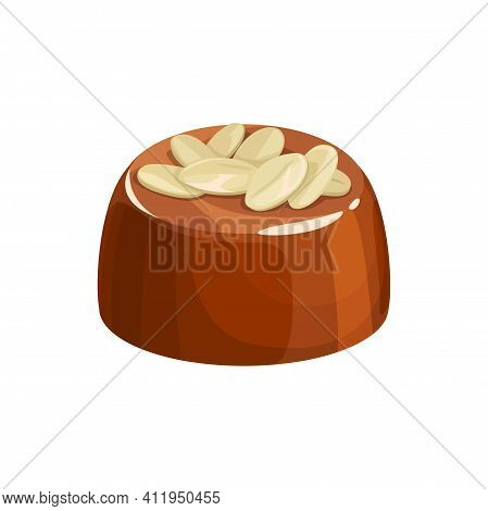 Chocolate Candy Sweet Dessert Isolated Choco With White Nuts Topping. Vector Candy With Praline, Pat