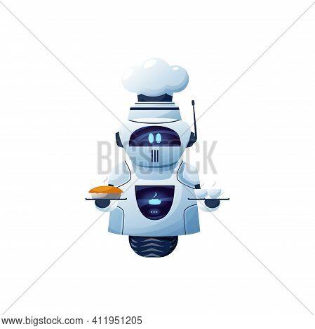 Cartoon Robot Chef, Vector Cyborg Character In Toque Hold Tray With Bakery And Cup Of Drink. Artific