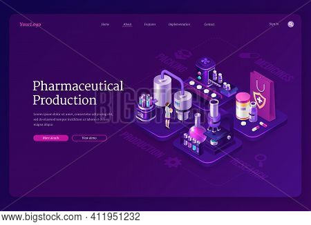 Pharmaceutical Production Isometric Landing Page, Woman Scientist In Robe Stand In Medical Laborator