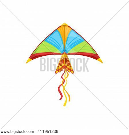 Kite In Shape Of Flying Bird In Sky Isolated Kids Toy. Vectoryellow, Blue Green Kite With Strings In