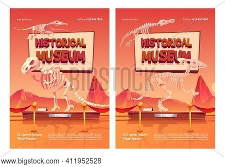 Historical Museum Posters With Dinosaur Skeletons On Stand. Vector Flyer With Cartoon Illustration O