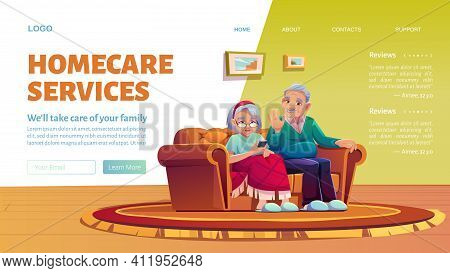 Homecare Services Cartoon Landing Page. Social Aid And Care For Old Patients At Home Concept. Happy
