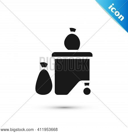 Grey Dumpsters Being Full With Garbage Icon Isolated On White Background. Garbage Is Pile Lots Dump.