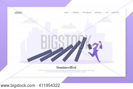 Domino Effect Or Business Resilience Metaphor Vector Illustration Concept. Adult Young Businessman R