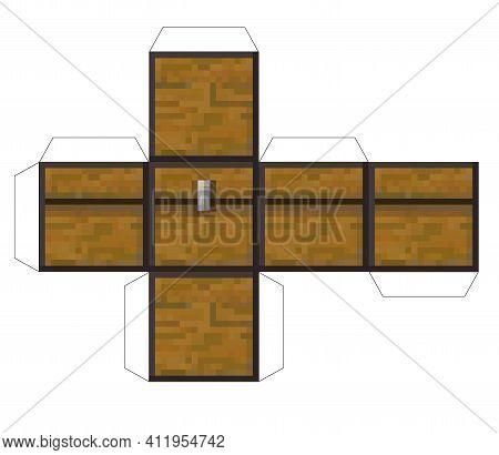 Papercraft Mini Dirt Block Chest. Papercraft 5 Classic Blocks. Bricks And Tnt. Pixel Wood Chest. The