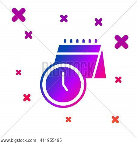 Color Calendar And Clock Icon Isolated On White Background. Schedule, Appointment, Organizer, Timesh