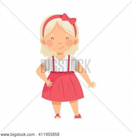 Blond Fashionable Girl Standing In Trendy Pinafore Skirt Vector Illustration