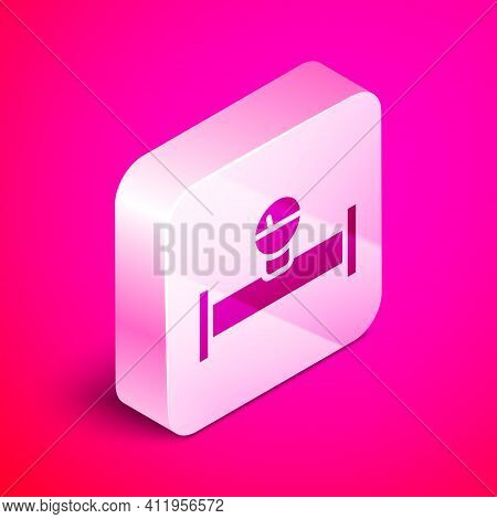 Isometric Industry Metallic Pipe And Manometer Icon Isolated On Pink Background. Silver Square Butto
