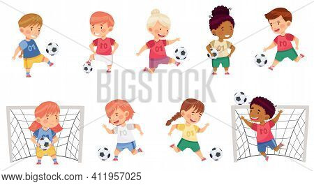 Little Boy And Girl In Sports Shirt And Shorts Playing Football Kicking Ball And Scoring Goal Vector