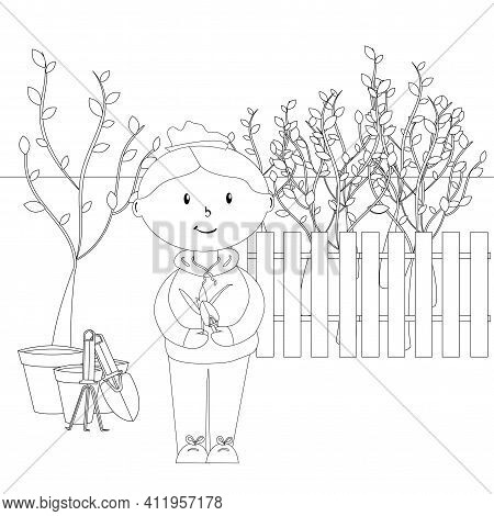 Doll With Garden Tool In Spring Garden, Coloring Page For Children, Simple Flat Vector Illustration