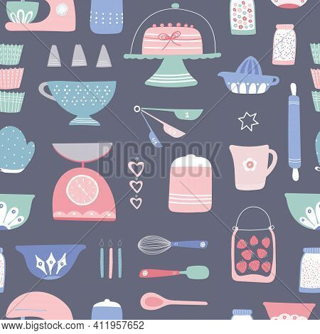Baking Pattern Design. Vector Seamless Repeat Of Home Cake Cooking Utensils And Ingredients. Home Ba