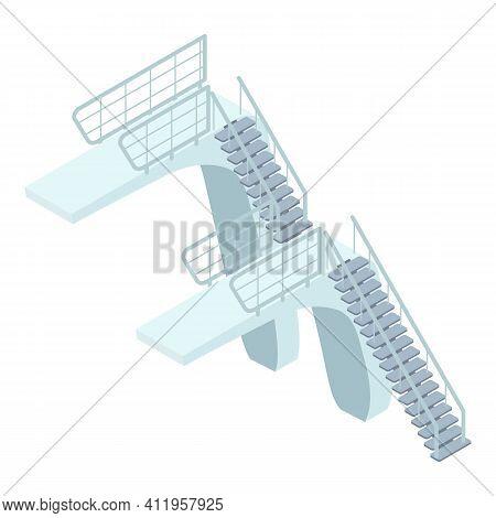 Indoor Platform Diving Board Icon. Isometric Of Indoor Platform Diving Board Vector Icon For Web Des
