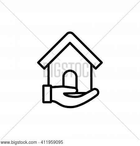 Home with Hand Logo icon vector design illustration. Home. Home Logo. House Logo. Home vector, Home Logo vector, Home symbol, Home sign, Home Logo design. House Logo icon vector. Home with Hand logo concept isolated on white background