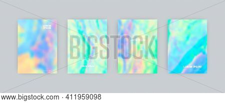 Set Of Vector Cover Templates. Iridescent Soft Colors Splash Hand Painted Psychedelic Blurred Backgr