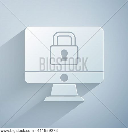 Paper Cut Lock On Computer Monitor Screen Icon Isolated On Grey Background. Security, Safety, Protec