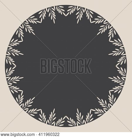 Round Frame With Hand Drawn Grass Twigs. Template For Scrapbooking. Cute Greeting Card. It Can Be Us