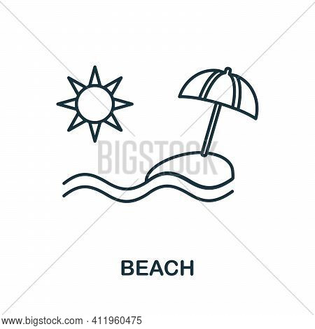 Beach Icon. Simple Illustration From Vacation Collection. Creative Beach Icon For Web Design, Templa