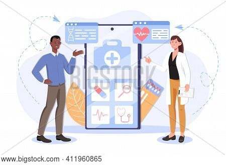 Female Doctor Using A Medical App On A Smartphone To Examine Patient. Concept Of Online Medical Cons