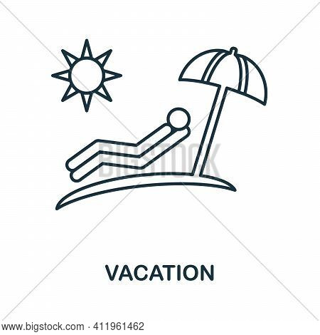 Vacation Icon. Simple Line Element Vacation Symbol For Templates, Web Design And Infographics