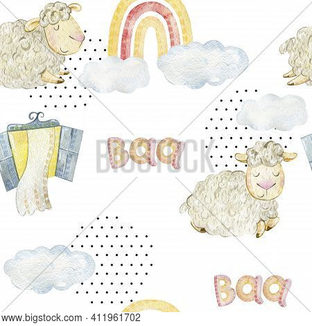 Watercolor Seamless Pattern With Funny Sheeps. Background For Fabric, Paper, Wallpaper, Wrapping And
