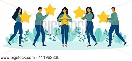 Standing People Hold Stars In Hands. Customer Satisfaction, Customer Review, Positive Feedback, Five