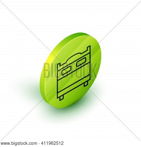 Isometric Line Bedroom Icon Isolated On White Background. Wedding, Love, Marriage Symbol. Bedroom Cr
