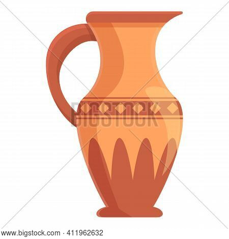 Amphora Roman Icon. Cartoon Of Amphora Roman Vector Icon For Web Design Isolated On White Background