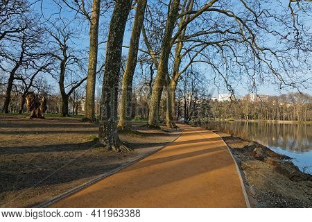Early Morning Lights Of Dawn On The Alleys Of The Park. Parc De La Tete D'or Is One Of The Larger Ci