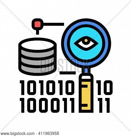 Analysis Binary Digital Processing Color Icon Vector. Analysis Binary Digital Processing Sign. Isola
