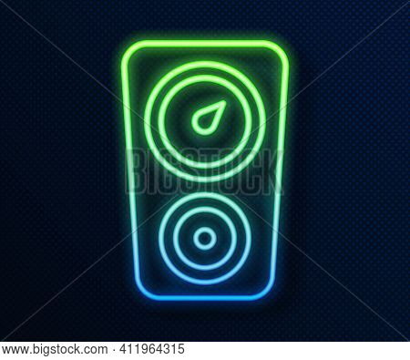 Glowing Neon Line Gauge Scale Icon Isolated On Blue Background. Satisfaction, Temperature, Manometer