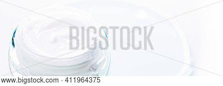 Skincare Moisturiser Cream In Glass Jar, Luxury Cosmetics And Facial Care Product Closeup