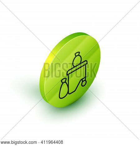 Isometric Line Dumpsters Being Full With Garbage Icon Isolated On White Background. Garbage Is Pile