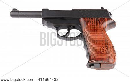 Pneumatic Pistol Isolated On White At Dry Sunny Summer Day