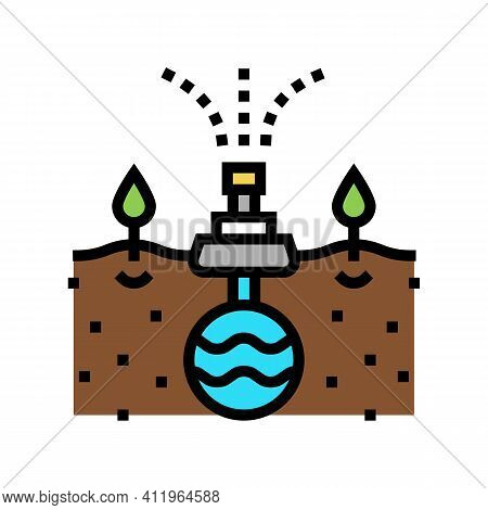 Irrigation System From Drain Color Icon Vector. Irrigation System From Drain Sign. Isolated Symbol I