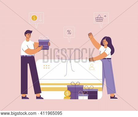 Gifts And Discounts When Shopping In Store. Seller Gives Joyful Woman Bonus Card And Boxes With Gift