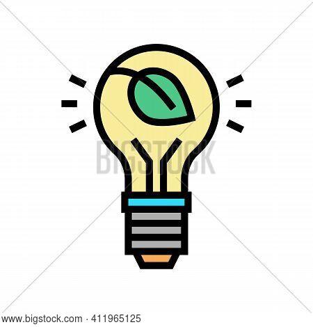 Lightbulb Energy Saving Color Icon Vector. Lightbulb Energy Saving Sign. Isolated Symbol Illustratio