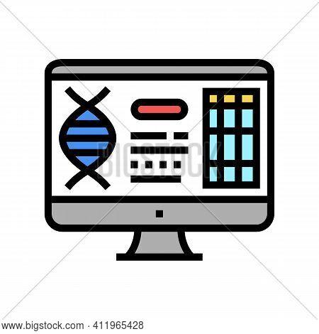 Computer Research Genetic Molecule Color Icon Vector. Computer Research Genetic Molecule Sign. Isola