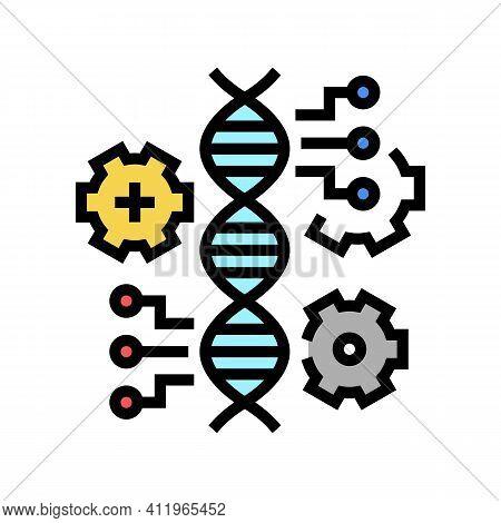 Molecule Genetic Characteristics Color Icon Vector. Molecule Genetic Characteristics Sign. Isolated