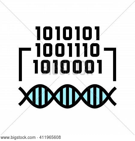 Binary Code Genetic Information Color Icon Vector. Binary Code Genetic Information Sign. Isolated Sy