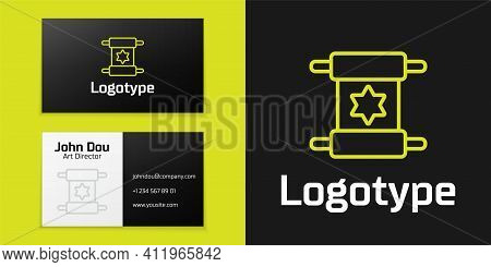 Logotype Line Torah Scroll Icon Isolated On Black Background. Jewish Torah In Expanded Form. Star Of