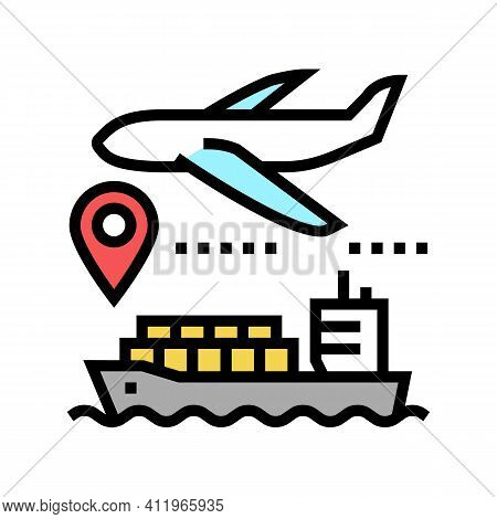 Airplane And Ship Delivering Color Icon Vector. Airplane And Ship Delivering Sign. Isolated Symbol I