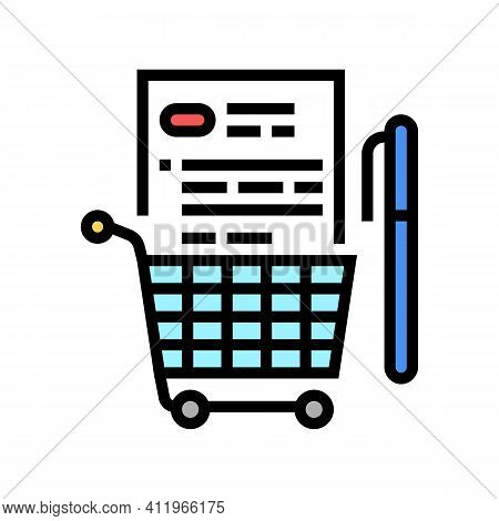 Buying And Signing Agreement Logistics Services Color Icon Vector. Buying And Signing Agreement Logi