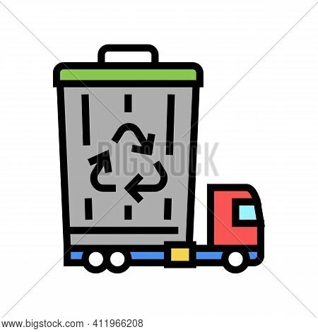 Garbage Removal And Disposal Logistics Color Icon Vector. Garbage Removal And Disposal Logistics Sig