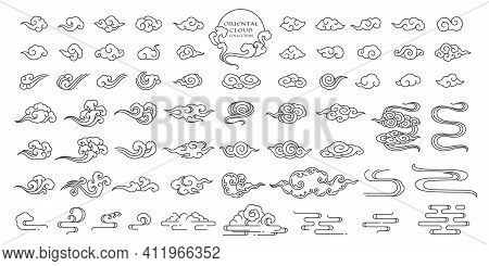 Set Of Oriental Cloud Illustration. Chinese Clouds Elements. Linear Hand Draw Clip Art. Japanese,tha