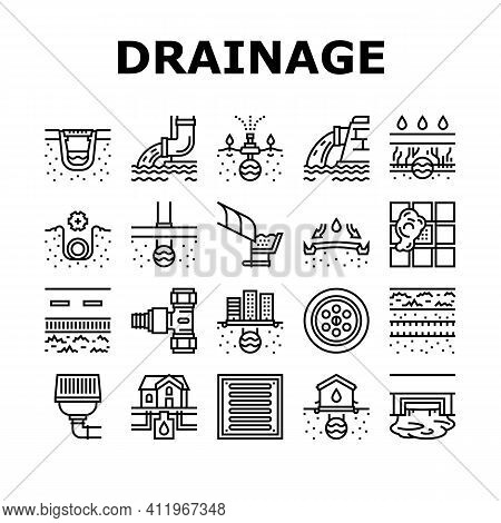 Drainage Water System Collection Icons Set Vector. Road And House, City And Industry Drain System, B